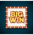 Big win banner with glowing lamps on frame vector image