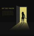 black silhouette woman with knife vector image vector image