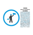 Builder With Shovel Rounded Icon with 1000 Bonus vector image
