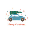 car with christmas tree flat vector image vector image