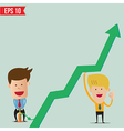 Cartoon Business man pump graph vector image vector image