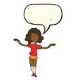 cartoon woman taking praise with speech bubble vector image