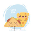 cheese and taco fast food kawaii cartoon character vector image