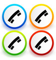 colorful buttons with black telephone receiver vector image