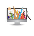 computer monitor with image of school writing vector image