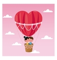 couple heart airballoon valentine day pink sky vector image vector image