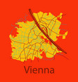 flat map of the city of vienna austria vector image vector image