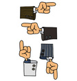 Four funny hands vector image vector image