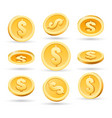 gold coins isolated on white background vector image vector image