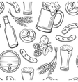 Hand drawn beer seamless pattern
