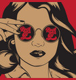 hand drawn of pretty girl in sunglasses with vector image