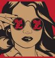 hand drawn pretty girl in sunglasses vector image