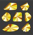 holographic golden stickers hologram labels vector image