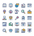 internet marketing icons set vector image vector image