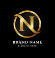 luxury letter n logo template in gold color royal vector image