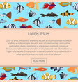 marine aqua fish banner pattern with cute vector image vector image