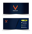 modern dark blue with vertical line name card vector image