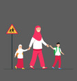 mom moslem accompany kids to back to school vector image vector image