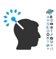 Optical Neural Interface Icon With Copter Tools vector image