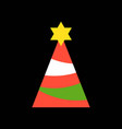 party hat or christmas tree and star merry vector image vector image