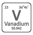 periodic table element vanadium icon vector image vector image