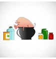 Pig in a pot on light background vector image
