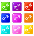 piston icons set 9 color collection vector image vector image