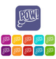 pow speech bubble icons set flat vector image vector image