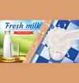 promo banner of fresh milk dairy products vector image vector image