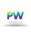pw p w colorful letter origami triangles design vector image vector image