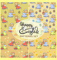 seamless patterns set with easter icons vector image vector image