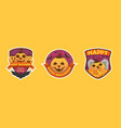 set of cartoon style happy halloween labels vector image vector image