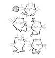 set of cute tabby cat characters in vector image vector image