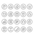 set round line icons of coffee vector image vector image