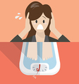 Stressed overweight woman on weight scale vector image
