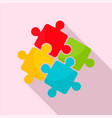 teamwork solution puzzle icon flat style vector image