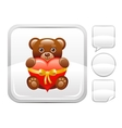 Teddy bear with heart icon on silver button vector image