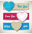 three colored romantic banner set vector image vector image