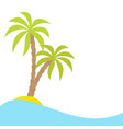 two palms tree on island ocean see water wave vector image