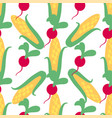 vegetable seamless pattern with radish and corn vector image