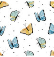watercolor yellow and blue butterfly seamless vector image