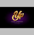 yp y p 3d gold golden alphabet letter metal logo vector image