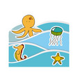 aquatic animals in the sea icon vector image vector image