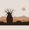 baobab tree landscape with mountains background vector image