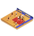 basketball isometric game composition vector image