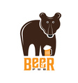 bear beer concept design template vector image vector image