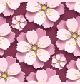 beautiful seamless pattern with pink cherry vector image vector image