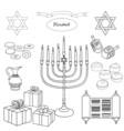 black and white set of Hanukkah objects vector image