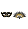 black carnival venetian mask masquerade feather vector image