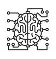 Brain-microchip line icon vector image